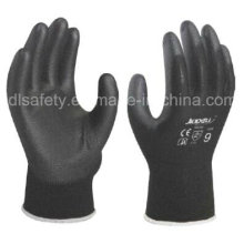 Black Nylon Work Glove with Black PU (PN8119)