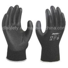 Gants de travail en Nylon noir avec noir PU (PN8119)