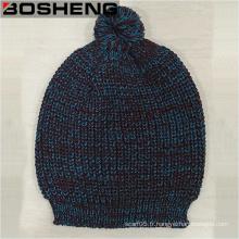 Bonnet tricoté avec POM, chapeau tricot bleu Bourgogne