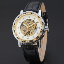 super crystal alloy case mechanical watch with leather band