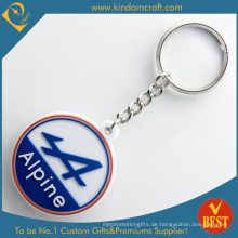 Hohe Qualität Kundenspezifische Werbe 2 D Alpine Mountain Rubber Schlüsselanhänger für Souvenir Geschenk