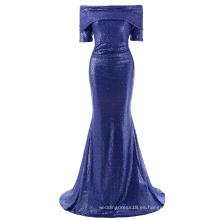 Kate Kasin Mujeres Sexy piso de longitud de manga corta de lentejuelas de hombro azul cequis largo vestido de fiesta de fiesta de baile KK001046-1