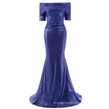 Kate Kasin Women Sexy Floor-Length Sequined Short Sleeve Off Shoulder Blue Sequins Long Evening Prom Party Dress KK001046-1