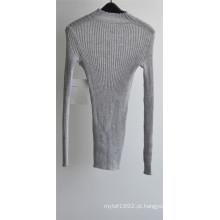 Mulheres 100% lã em torno do pescoço Knit Sweater