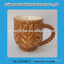 2016 new style ceramic mug with leaf pattern
