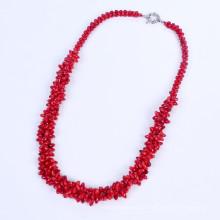 Neue rote korallene Perlen Bindfäden Halskette