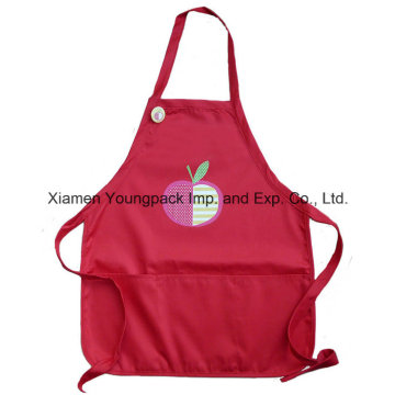 Custom Embroidery Girls Red Poly Cotton Kids Personalized Cooking Apron