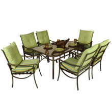 Outdoor salt furniture 7pc dining set with cushion-glass top
