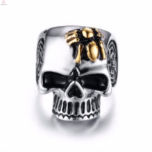 2017 new arrival aço gravado titanium steel spider skull rings