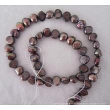 Perle baroque marron, perle d'eau douce, perle (BRQ0910BR)