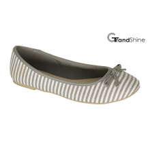Women′s Stripe Printed Canvas Flat Casual Ballet Shoes