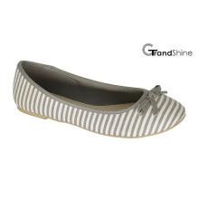 Mulheres Stripe impresso lona plana sapatos de ballet casual