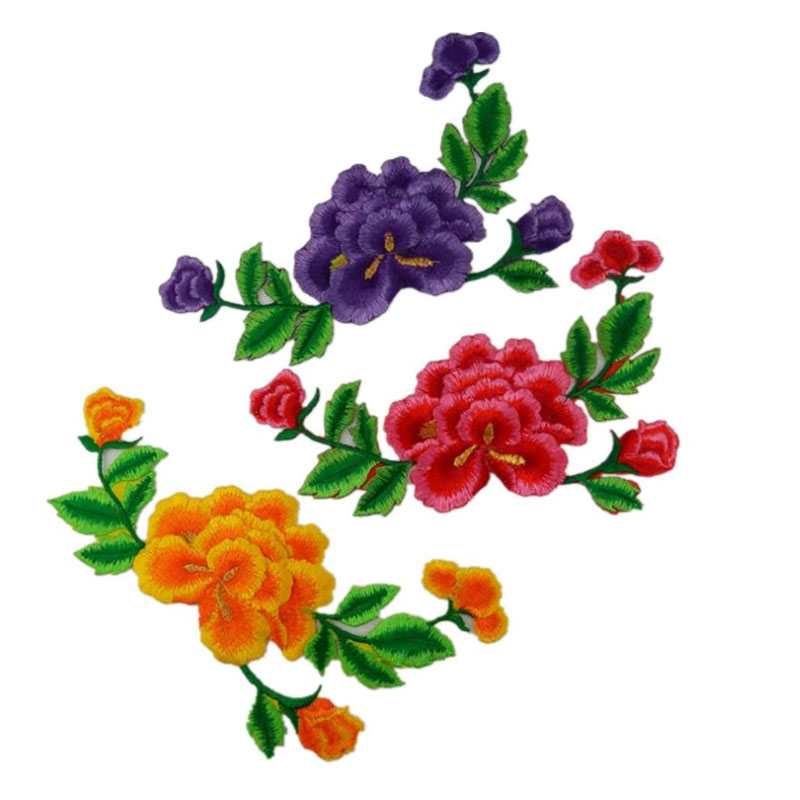 Chinese Peony Applique Embroidered Patch