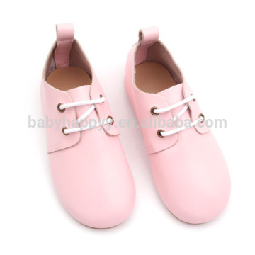 Children pink girls leather oxford shoe sweet rubber sole shoes