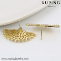 91903 xuping fashion fan shaped design 14k gold color zircon paved ladies stud earrings