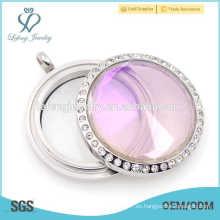 Medallón de cristal impermeable de la bóveda del acero inoxidable, colgante del locket de la foto de la piedra preciosa