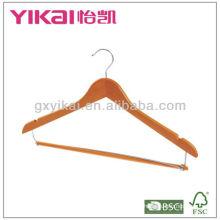 Colgador de camisa de madera con pantalones de bloqueo de la barra