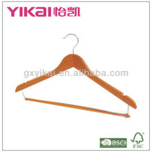 wooden shirt hanger with trousers locking bar
