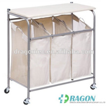 DW-DC001 Laundry Hamper 3 Washing Basket Bag Sort + Ironing Board Trolley Clothes Storage