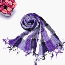 Moda de la Mujer Púrpura Múltiples Color Arrugas Largas Bufanda Comprobada