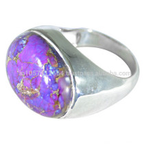 925 Sterling Silver & Purple Copper Turquoise Gemstone Simple Ring for All Occasion