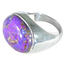 925 стерлингового серебра & фиолетовый меди бирюзовый драгоценных камней простое кольцо для всех случаю