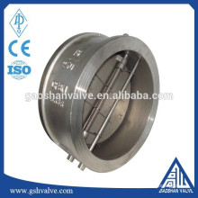 Válvula de retenção de balanço de disco dupla de aço inoxidável