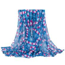 Impression de neige de Noël pour femmes longue écharpe de châle tissée (SW140)