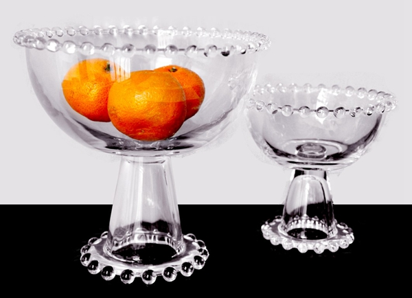 clear beaded glass fruit bowl