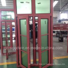 Ventana de aluminio de doble rotura térmica garantizada de la calidad de Woodwin