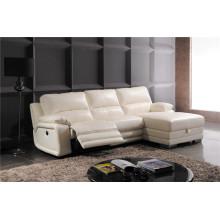 Sofá reclinável elétrico do sofá da chaise de couro genuíno (738)