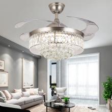 Modern Golden Crystal Chandelier ceiling fan with light lamp