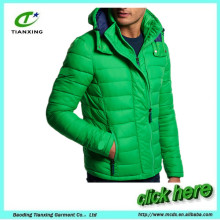 new Trendy fashion Green color mens padded jacket