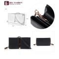 HEC New Design Black PU Material Cartera de tarjeta de crédito para mujer