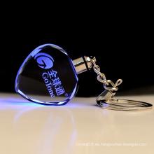 Elegante llavero de cristal LED barato llavero