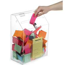 Passen Sie Clear Acrylic Suggestion Geld Bank Spende Box