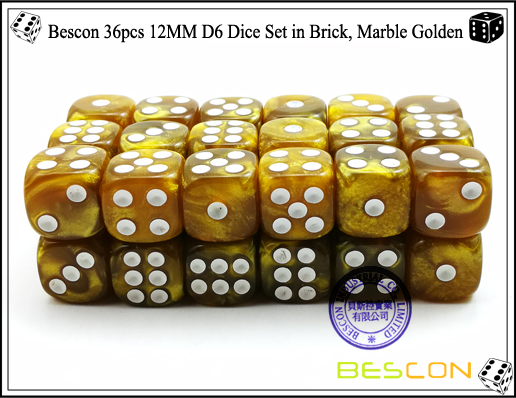Bescon 36pcs 12MM D6 Dice Set in Brick, Marble Golden-4