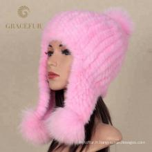Usine en gros vraie fourrure de vison tricoté bonnet personnalisé