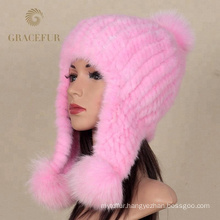 Factory wholesale real mink fur knitted custom beanie hat