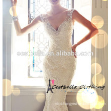Latest Hot sale Sexy Sleeveless White Long trailing Lace Wedding Dress with Long tail