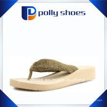 Sandales Flip Flop Femmes Mignon Taille 6 Or Blanc Nouveau