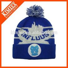 Chapeau de crochet en acrylique personnalisé jacquard à chaud avec boule supérieure