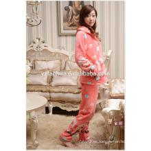 Customed franela caliente juego de los pijamas de invierno casa Relax desgaste