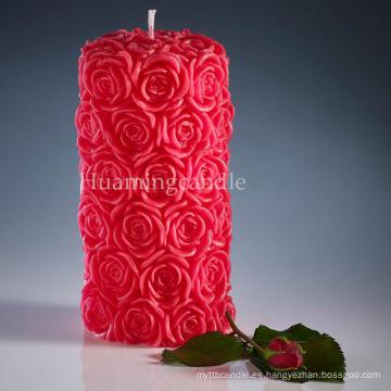 Velas románticas de pilar rosa sin aroma y hechas a mano velas de parafina