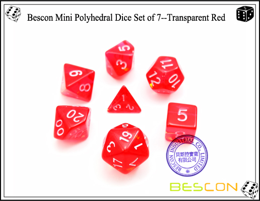 Bescon Mini Polyhedral Dice Set of 7--Transparent Red-2