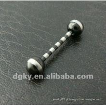 Atacado de titânio listrado anodizado Industrial Barbell plana língua anéis