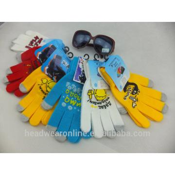 Fertigen Sie alle Farben bedrucken 3 Finger Touchscreen Handschuhe