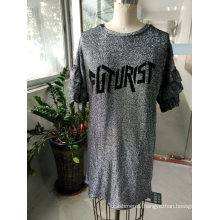 Women′s Shiny Letter Breathable T-Shirt