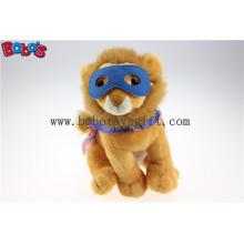 Plüsch Löwe Spielzeug Benutzerdefinierte gefüllte Löwen Tiere mit Augen Patch und Printing Logo Umhang Bos1136