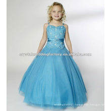 Hot sale beaded ruched ball gown skirt turquoise custom-made long girls pageant dresses CWFaf4964